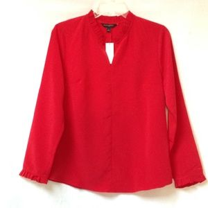 BANANA REPUBLIC Red Ruffle Long Sleeve Blouse NWT